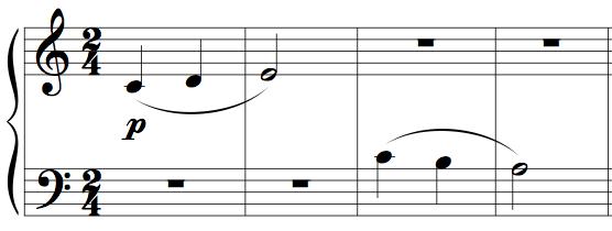 "Memorising music example 1 - four bars from Kabalevsky's ""First Piece"", op.89"